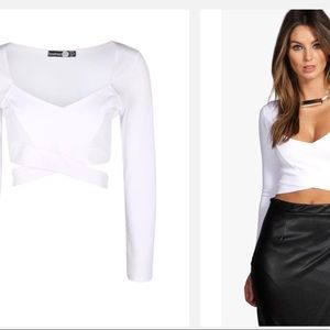 908527f215 Boohoo Tops - Boohoo sally L S Cut Out Bralet   White